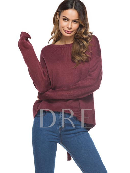 Round Neck Backlelss Lace-up Women's Sweater