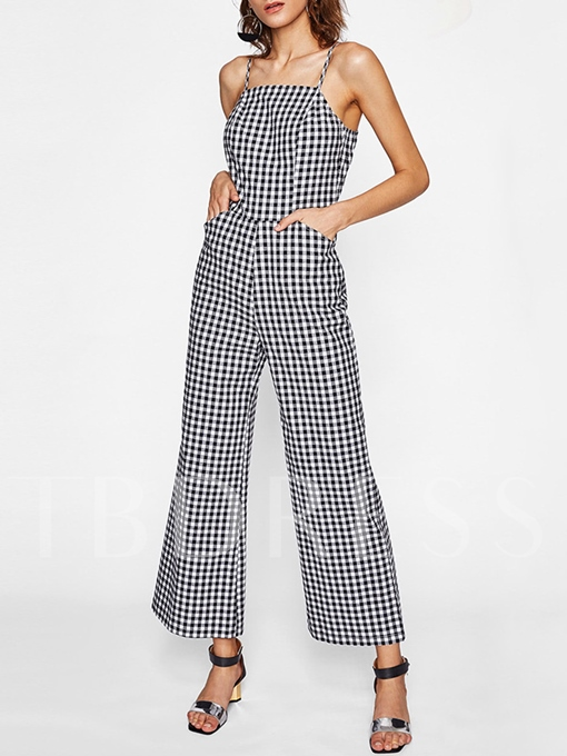 Vintage Plaid Print Strap Women's Jumpsuits