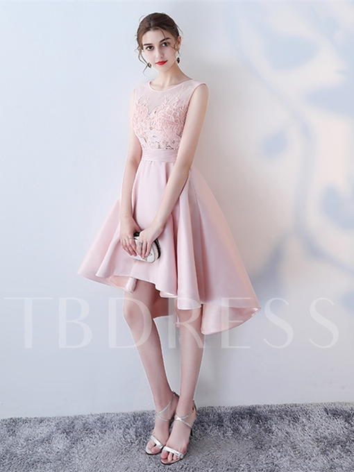 A-Line Appliques Lace Pleats Asymmertry Homecoming Dress