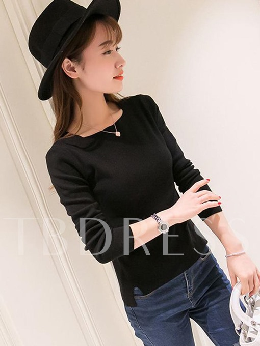 Plain Slim Pullover Faux Thin Wool Women's Sweater