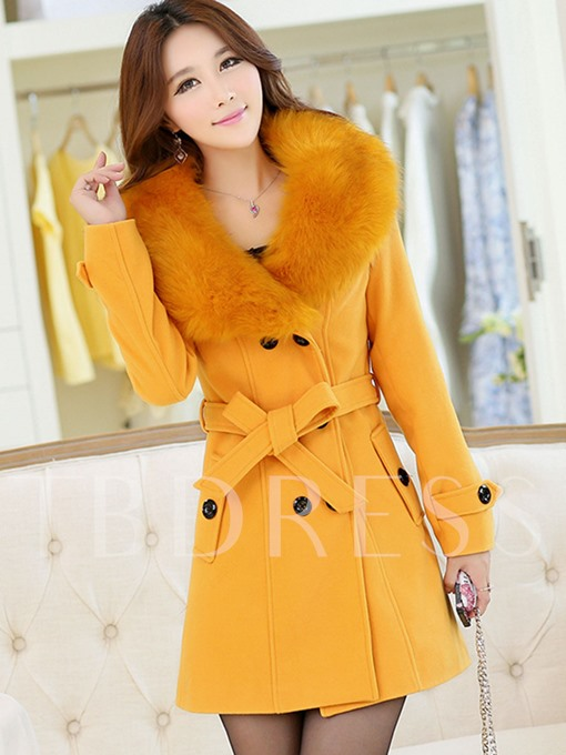 Wide Faux Fur Lapel Double-breasted with Belt Women's Overcoat