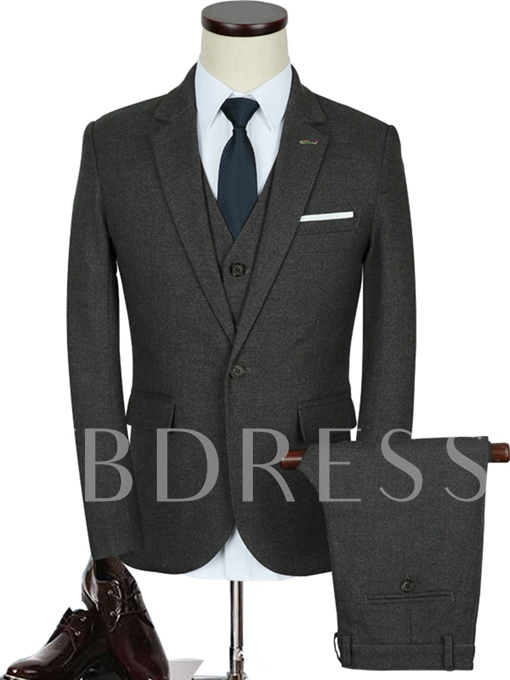Notched Collar Black A Three-Piece Solid Color Slim Fit Men's Dress Suit