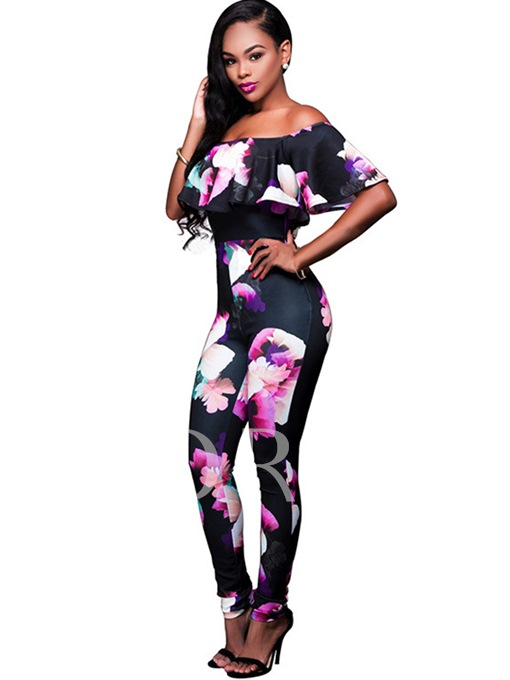 Slim Slash Neck Floral Women's Jumpsuits