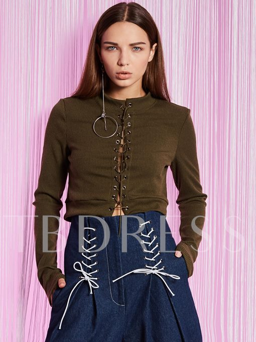 Slim Stand Collar Lace-Up Women's T-shirt