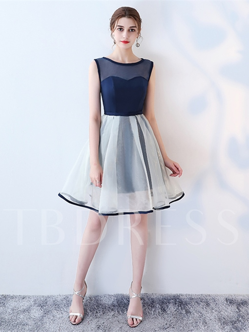 A-Line Scoop Contrast Color Knee-Length Homecoming Dress