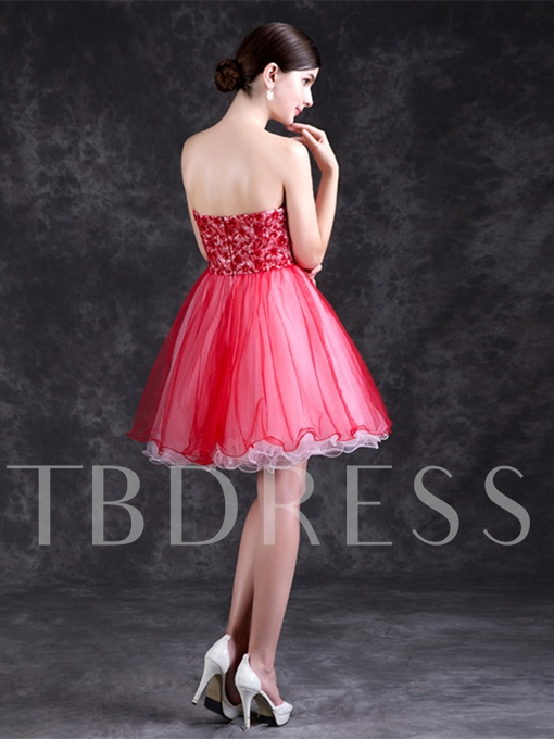 A-Line Zipper-Up Strapless Lace Mini Homecoming Dress