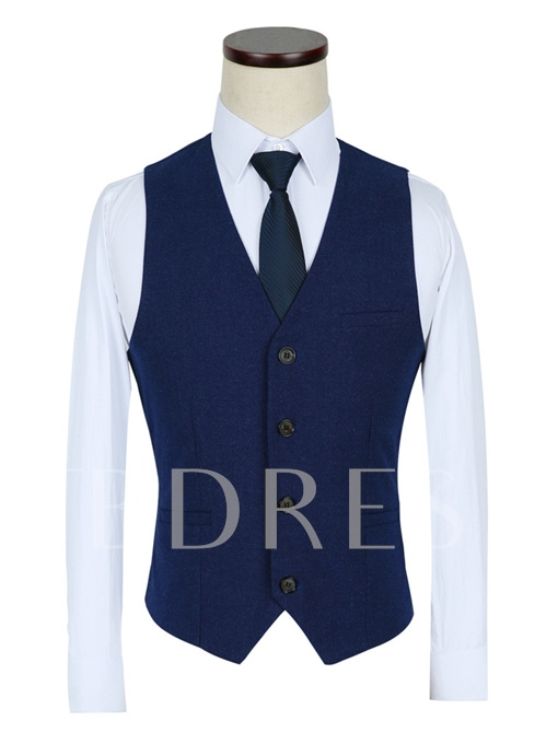Notched Collar A Three-Piece Royal Blue Slim Fit Men's Dress Suit