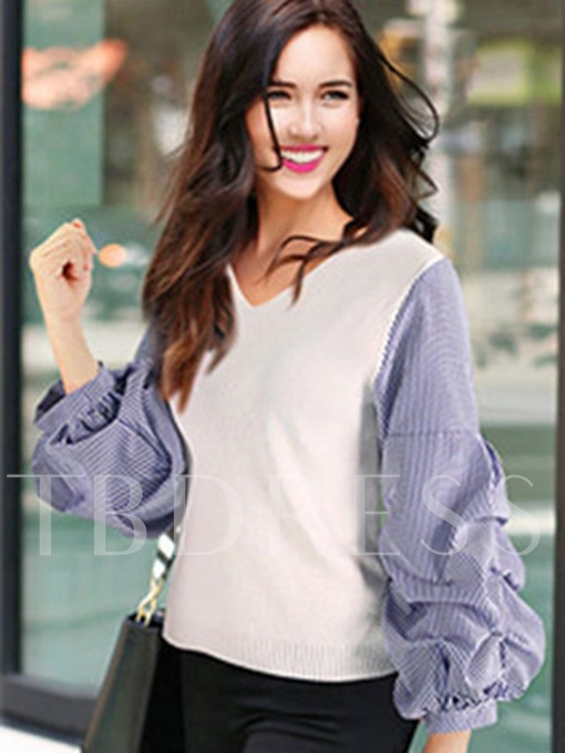 V-neck Color Block Patchwork Heap Sleeve Pleated Women's Sweater