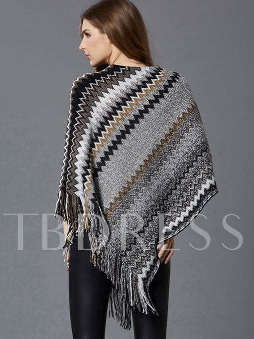 Stripe Color Block with Tassels Women's Cape