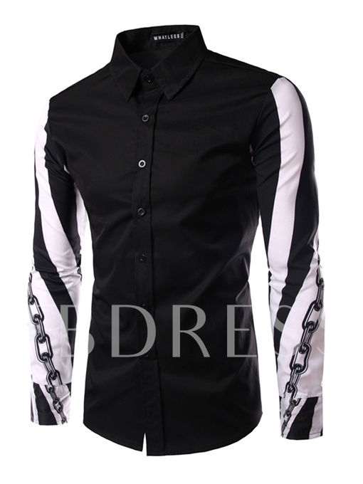 Lapel Sleeve Printed Single-Breasted Slim Fit Men's Casual Shirt