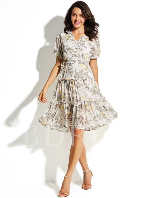 Short Sleeve Floral Ruffled Vacation Women's Day Dress