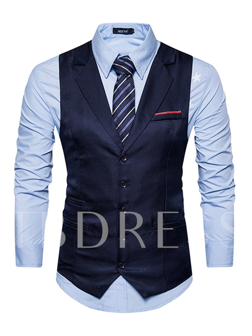 Notched Collar Single-Breasted Solid Color Slim Fit Men's Vest
