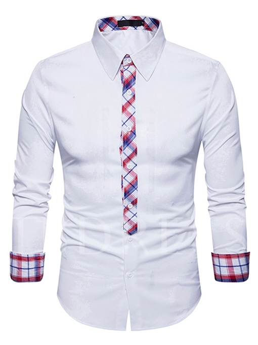 Lapel Classic Fine Plaid Contrast Trim Single-Breasted Slim Men's Button Shirt