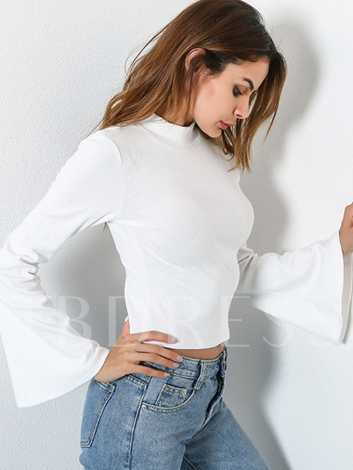 Turtleneck Short Slim with Flare Sleeve Women's T-shirt