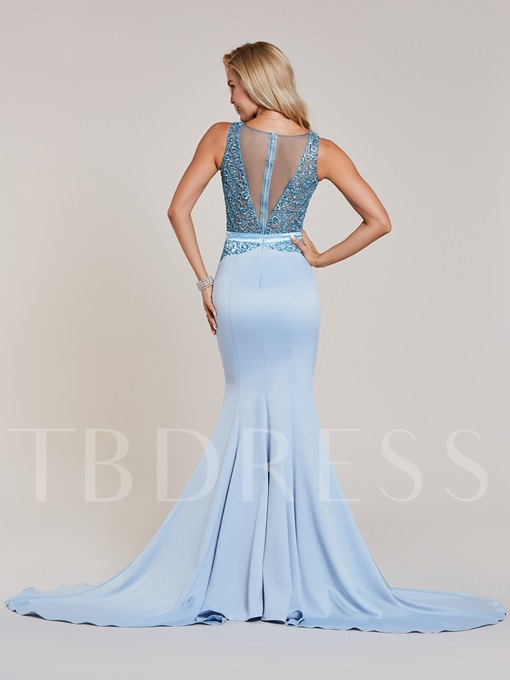 V Neck Beaded Mermaid Evening Dress