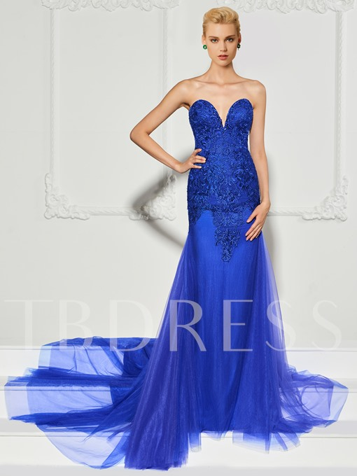 Mermaid Button Lace Sweetheart Sweep Train Evening Dress