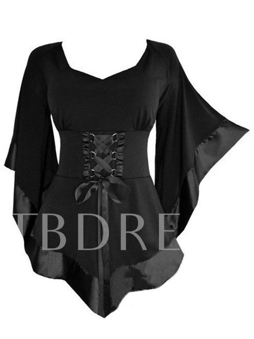 Halloween V-neck Lace-up with Flare Sleeve Women's Blouse