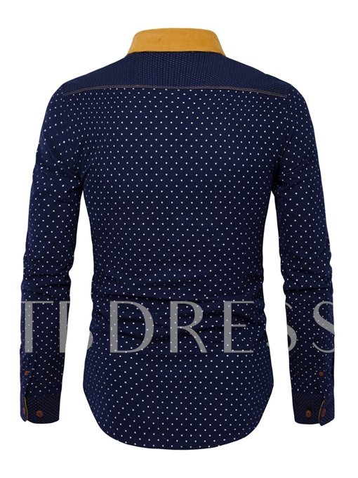 Lapel Color Block Corduroy Polka Dots Slim Fit Men's Button Shirt