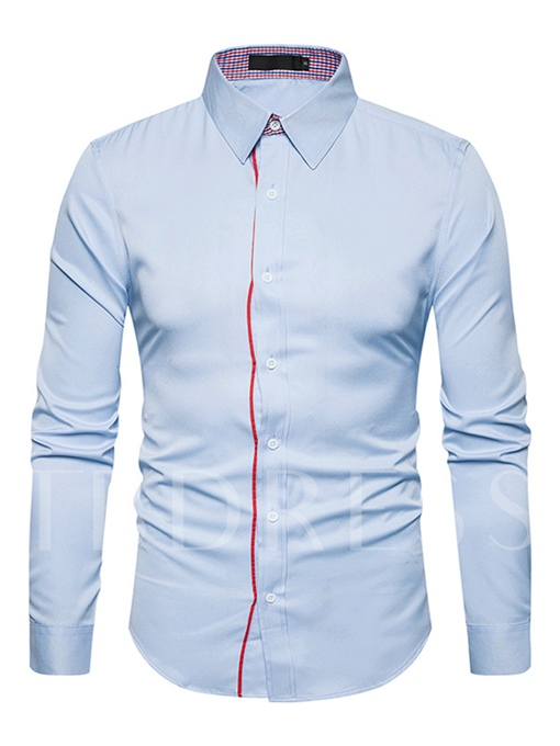 Lapel Contrast Trim Solid Color Casual Slim Fit Men's Shirt