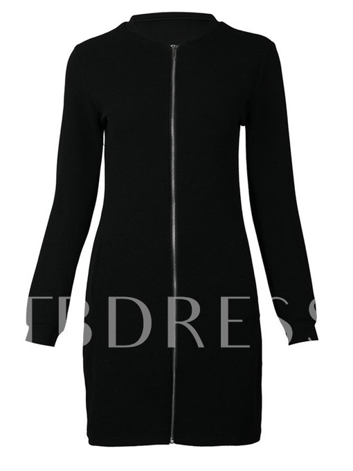 Front Zipper Pockets Women's Long Sleeve Dress
