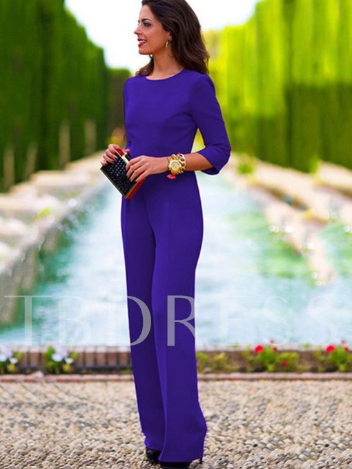 Plain Loose Straight Backless Women's Jumpsuits