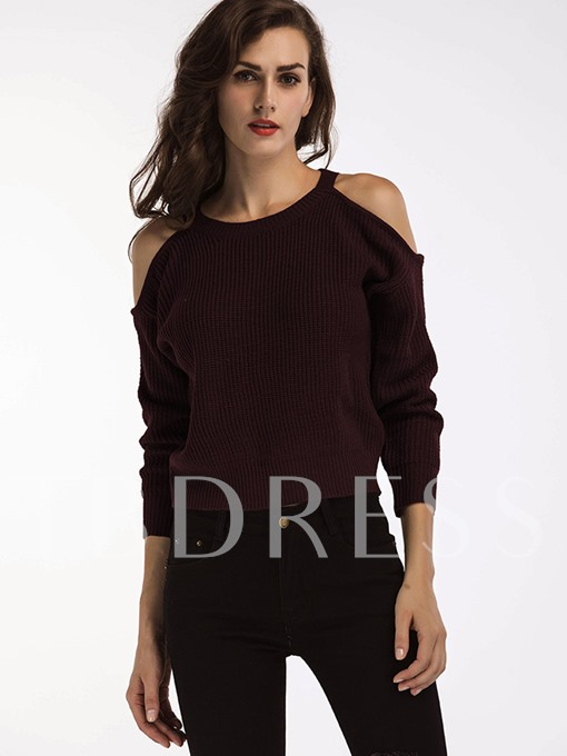 Round Neck Hollow Short Pullover with Nine Points Sleeve Women's Sweater