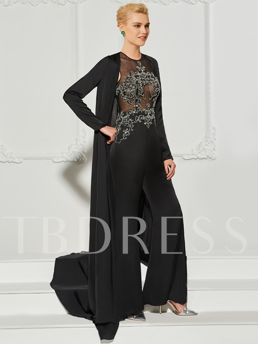 A-Line Beading Scoop Evening Jumpsuits