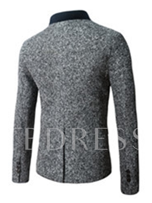 Stand Collar Single-Breasted Solid Color Slim Fit Men's Woolen Blazer