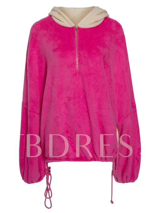 Hooded Bump Color Lace-up Women's Sweatshirt