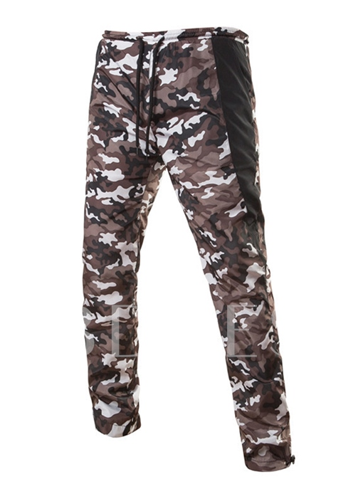 Lace-up Camouflage Patchwork Slim Fit Casual Men's Pants