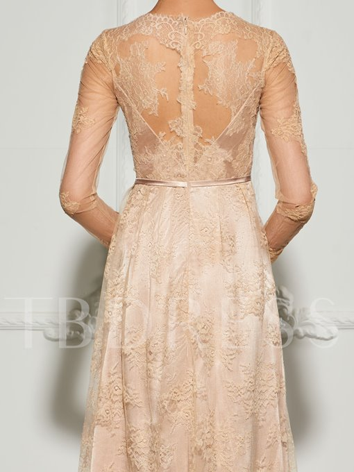 A-Line Long Sleeves Bowknot Lace Sashes Split-Front Sweep Train Evening Dress