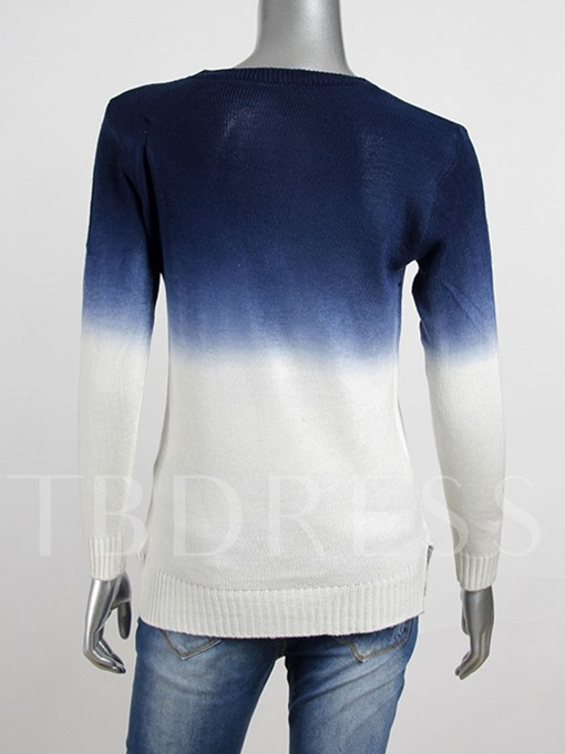 Round Neck Color Block Pullover Women's Sweater