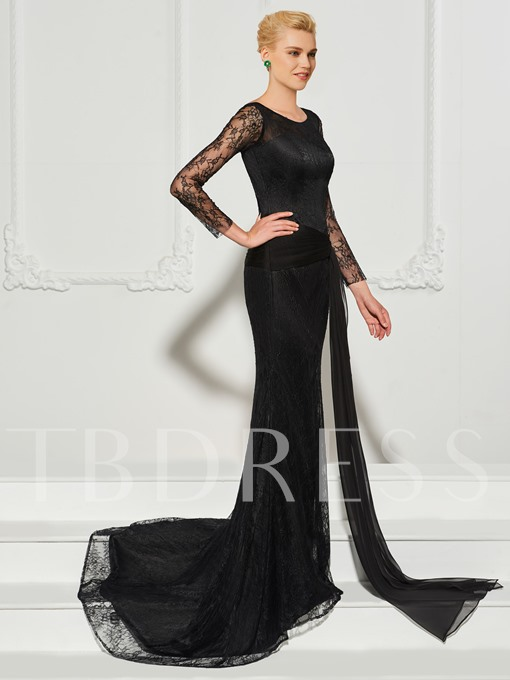 Bateau Button Lace Sashes Mermaid Evening Dress