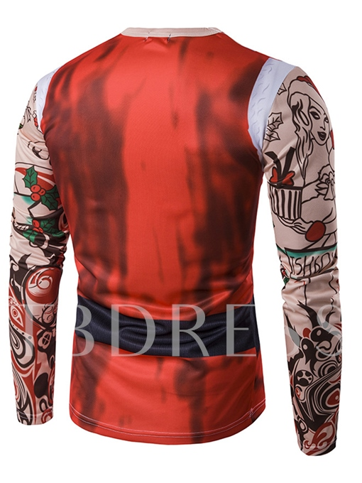 Round Collar 3D Christmas Santa Claus Printed Slim Fit Men's Long Sleeve T-Shirt