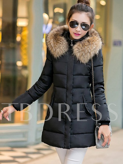 Stand Collar with Faux Fur Hooded Slim Zipper Women's Overcoat