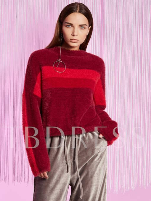 Round Neck Pullover Color Block Women's Sweater