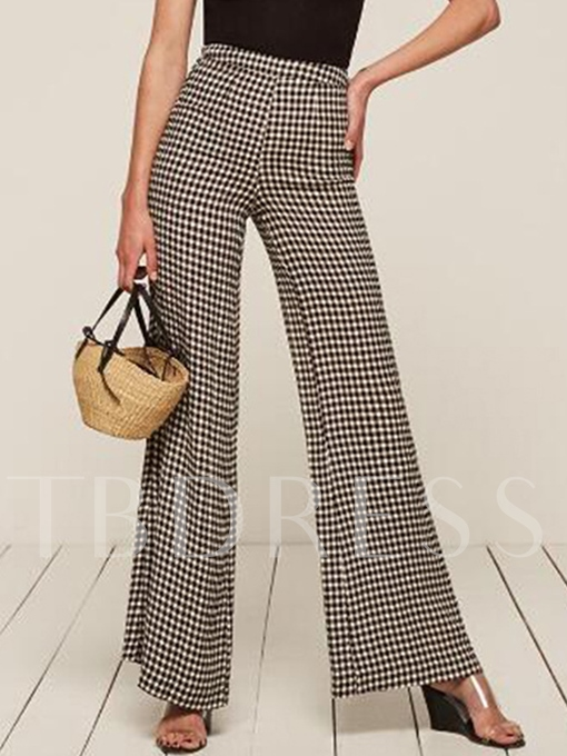 Loose Bellbottoms Plaid Print Women's Casual Pants