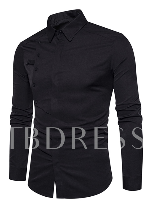 Lapel Button Decorated Solid Color Plain Slim Men's Casual Shirt