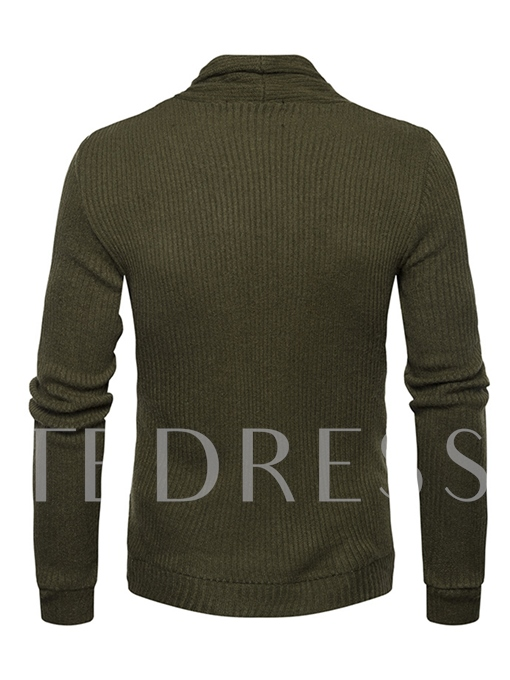 Stand Collar Pocket Solid Color Slim Fit Knit Men's Pullover Sweater