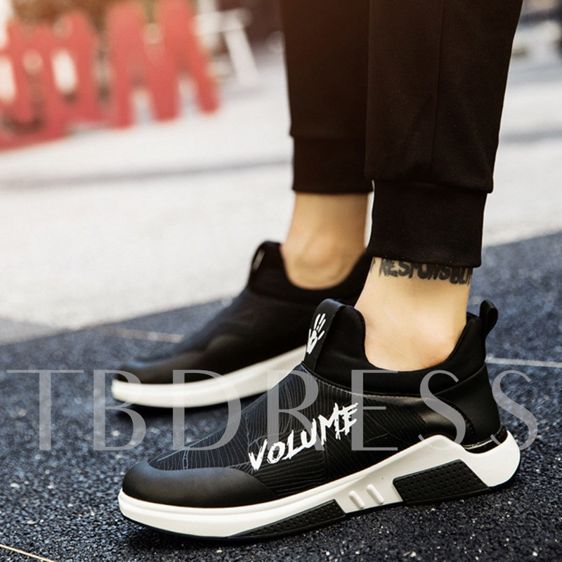 Slip On Letter Stripe Print Men's Casual Shoes