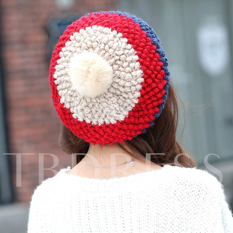 Patchwork Pompon Knitted Korean Style Hats