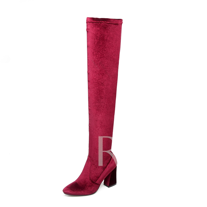 Solid Suede Zipper Chunky Heel Women's Thigh High Boots