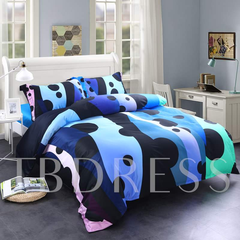 Spots and Flowing Lines Printed 4-Piece Cotton Bedding Sets/Duvet Covers