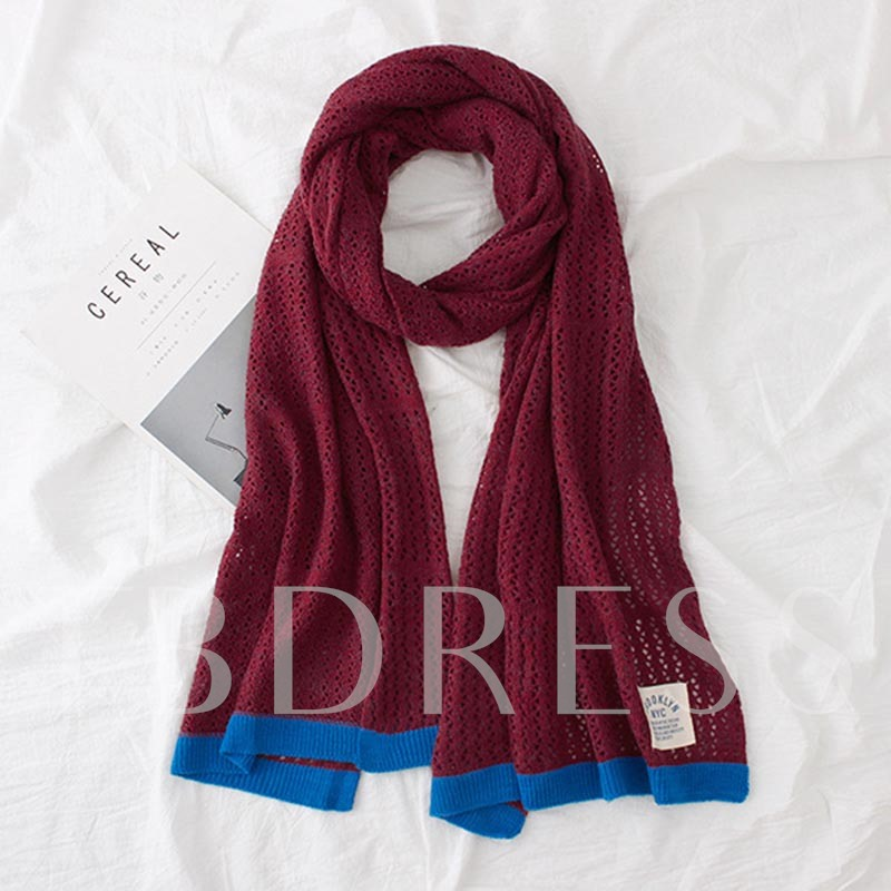 Knitted Hollow Out Woolen Yarn Color Block Scarfs