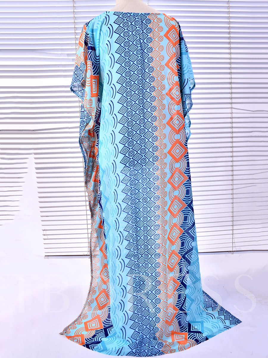 Ethnic Print Slit Ankle-Length Cover-Up