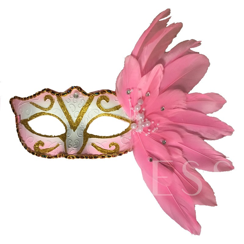 Feathers Shiny Diamante Masquerade Mask Gothic Halloween Mask
