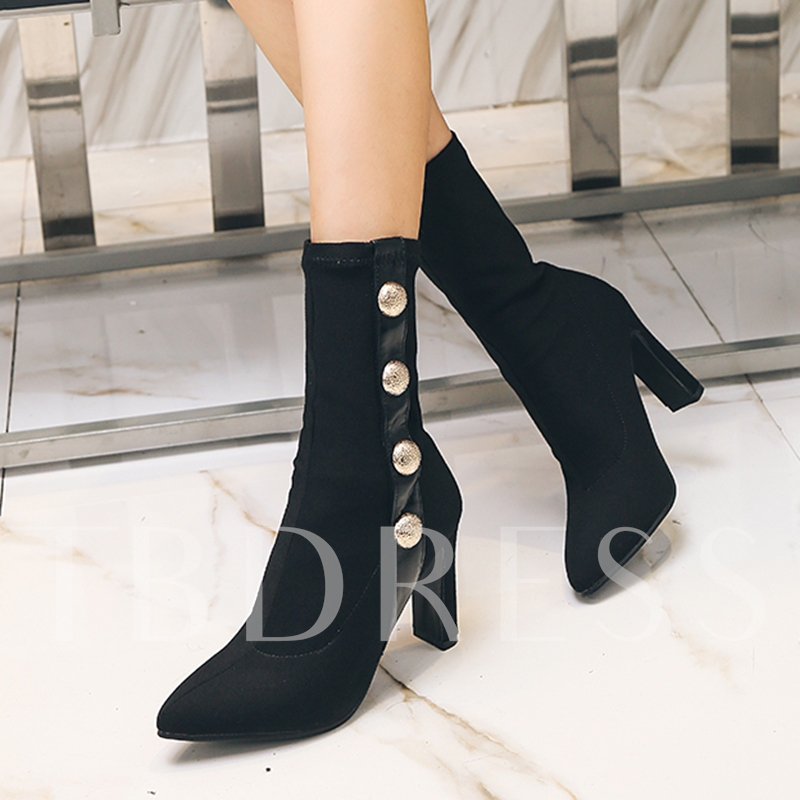 Spandex Button Chunky Heel Women's Ankle Boots