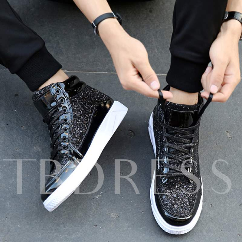 Plus Size Lace Up Patchwork Sequin Men's Dress Shoes