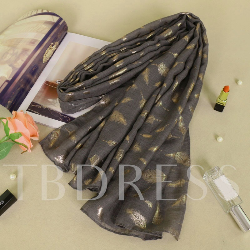 Feather Bronzing Cotton Print Urbanity Scarfs