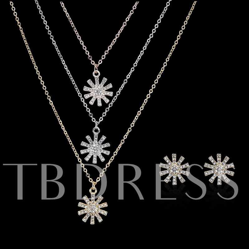 Snowflake Alloy Diamante Jack Chain Jewelry Sets